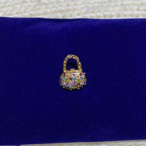 Gold tone w/rhinestones Purse 👛 brooch ✨